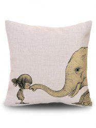 Elephant Print Throw Decorative Pillow Case - BEIGE