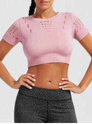 Crew Neck Ripped  Sports CroppedT-shirt