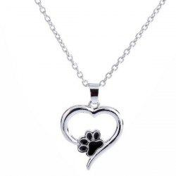 Love Heart Shape Claw Pendant Necklace