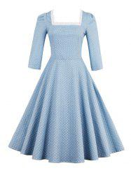 Polka Dot Square Neck Vintage Dress - LIGHT BLUE 2XL