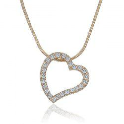 Rhinestone Inlay Hollow Out Heart Pendant Necklace