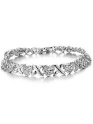 Alloy Cross Heart Rhinestone Inlay Bracelet - SILVER