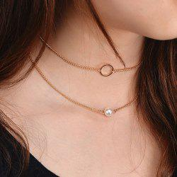Faux Pearl Collarbone Circle Necklace Set