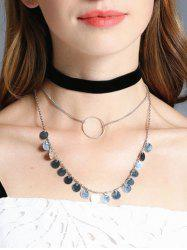Round Disc Velvet Choker Necklace Set