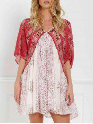 V Neck Short Sleeve Vintage Print Dress - RED WITH WHITE XS