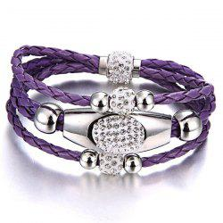 Layered Rhinestone Beaded Magnet Buckle Bracelet - PURPLE