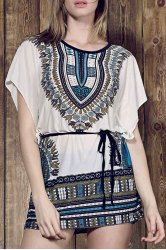 Vintage Style Round Collar Batwing Sleeve Loose-Fitting Ethnic Print Dress For Women