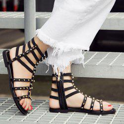 Zipper Rivets Flat Heel Sandals