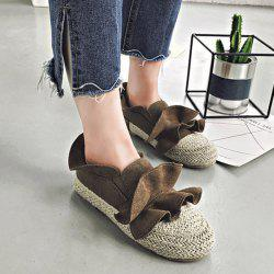 Straw Insert Ruffle Flat Shoes