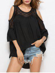 Lace Insert Oversized Cold Shoulder Blouse