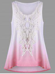 Crochet Insert Ombre Tank Top - WHITE