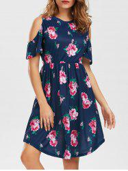 Pockets Floral Cold Shoulder Dress