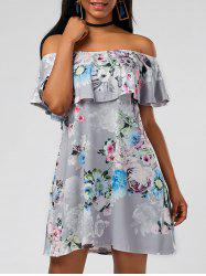 Ruffle Floral Off The Shoulder Dress - GRAY M