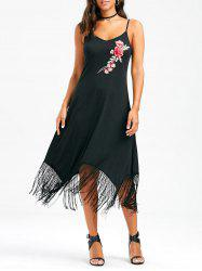 Embroideried Open Back Cami Fringe Dress - BLACK