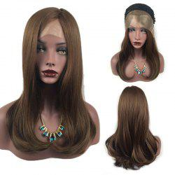 Long Tail Adduction Side Part Straight Lace Front Synthetic Wig - BROWN