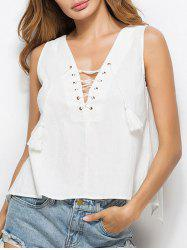 Open Back Slit Lace Up Tank Top
