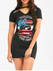 Safe Pins Graphic Print Short Punk Dress - BLACK