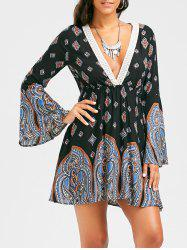 Paisley Print Plunging Neckline Bohemian Tunic Dress - BLACK