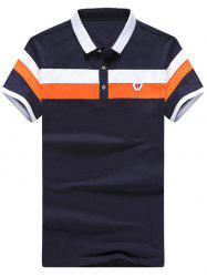 Half Button Up Striped Polo Shirt