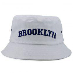 Letters Embroidered Flat Top Bucket Cap - WHITE