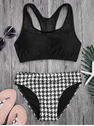 Racerback Mesh Panel Houndstooth Bikini Set