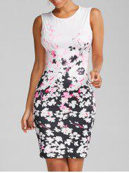 Floral Print Bodycon Round Neck Dress