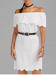 Off The Shoulder Scalloped Mini Dress - WHITE