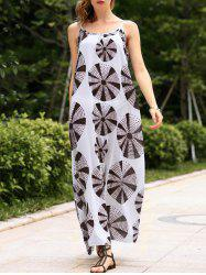 Circle Print Backless Maxi Casual Slip Dress