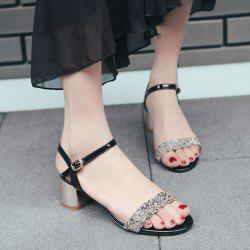 Block Heel Sequins Sandals