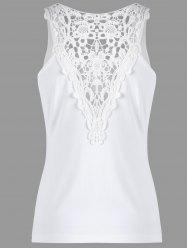 U Neck Cutwork Lace Trim Tank Top