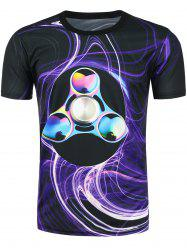 Short Sleeves 3D Fidget Spinner Printed Tee - BLACK