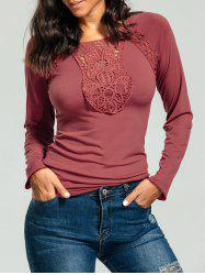 Long Sleeve Lace Panel Tight Tee