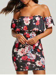 Floral Bodycon Off The Shoulder Dress -