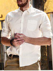 Plain Long Sleeve Pocket Shirt