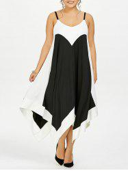 Plus Size Handkerchief Flowy Two Tone Slip Dress - BLACK