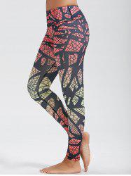 Skinny High Waist Pattern Funky Gym Leggings - Rouge
