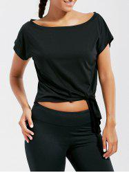 Active  Front Tie CroppedT-shirt - BLACK