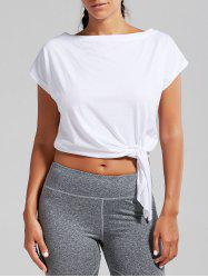 Active  Front Tie CroppedT-shirt - WHITE