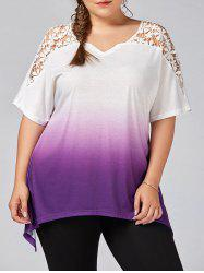Plus Size Cutwork Ombre Top