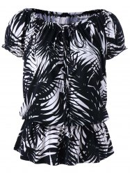 Leaf Print Convertible Collar Ruffle Blouse