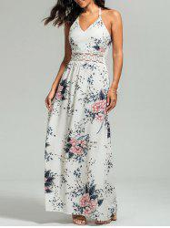 Cutout Lace Panel Floral Slip Maxi Dress