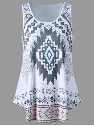 Curved Hem Tribal Tank Top - WHITE