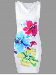 Cowl Neck Sleeveless Floral Tight Dress - WHITE