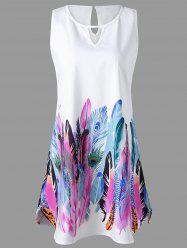 Feather Print Keyhole Neck Sleeveless Dress - WHITE