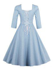 Polka Dot Square Neck Vintage Dress