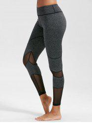 High Rise Mesh Panel Fitness Leggings - DEEP GRAY