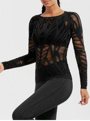 Sheer Ripped Long Sleeve  Sports T-shirt - BLACK