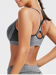 Racer Back  Padded Cutout Gym Bra - GRAY