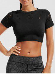Crew Neck Ripped Sports Crop Running T-shirt - BLACK