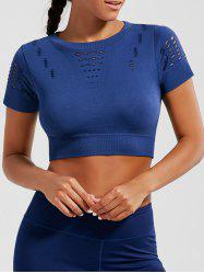 Crew Neck Ripped Sports Crop Running T-shirt - DEEP BLUE L